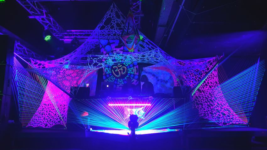 Stringart Goa Party Psychedelicart Partydecorations Black Cube Invasion Rave