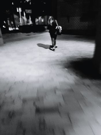 Walking Portrait Of A Woman Portrait Rear View From Behind People Photography People On The Street People_collection Black And White Photography Black And White Collection  Black And White Portrait City Street Street Life City Life Night Photography Nightshot Night View Monochrome Photography Galaxy S7 Edge