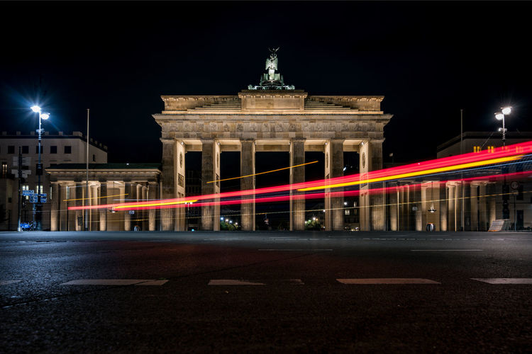 Light trails on building at night