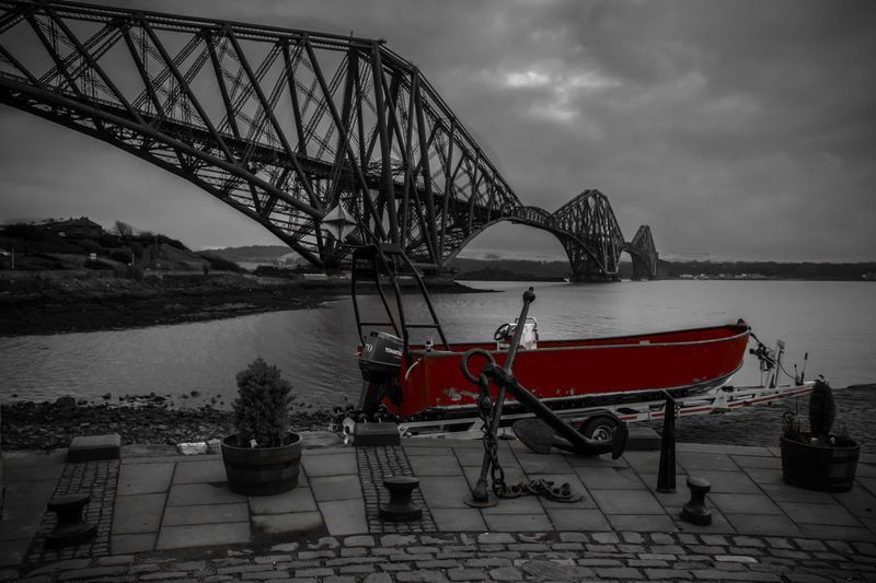 Forth Rail Bridge Anchor Black And White Boat EyeEmNewHere Forth Rail Bridge No People North Queensferry Pauldroberts Red Redboat Sea World Heritage World Heritage Site Your Ticket To Europe