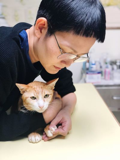 Asian  Care Hugging Love Pets Cats Hospital Veterinary Pets Domestic One Animal Mammal Domestic Animals Real People Vertebrate Whisker Focus On Foreground Front View Childhood Casual Clothing Pet Owner Indoors  Domestic Cat Holding Cat One Person Feline