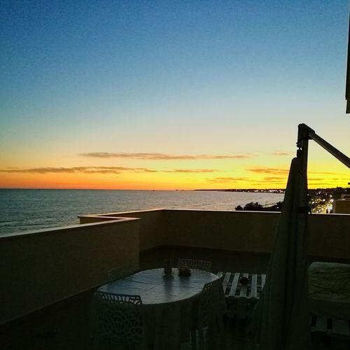 Sunset Sea Horizon Over Water Tranquility Scenics High Angle View Orange Color Tramonto Sul Mare Tramonto♡ Tramontosulmare Tramonti_italiani Tranquil Scene Terrazza Terrazza A Mare