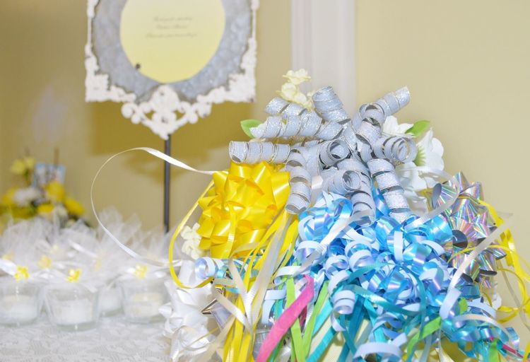 Brides bouquet of bows from her bridal shower gifts. She will use this as her practice bouquet at her rehearsal the night before her wedding. Multi Colored Close-up EyeEm Gallery Wedding Photography No People Bow Bouquet Rehearsal Bride