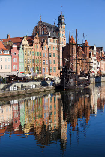 City of Gdansk in Poland, Old Town mirror reflection in Motlawa river Baltic Countries Galleon Historical Building Houses Old Town Poland Sightseeing Architecture Building Building Exterior Built Structure City Gdansk Mirror Reflection Nautical Vessel Pomerania Reflection Reflections In The Water River Row House Ship Travel Travel Destinations Water Waterfront
