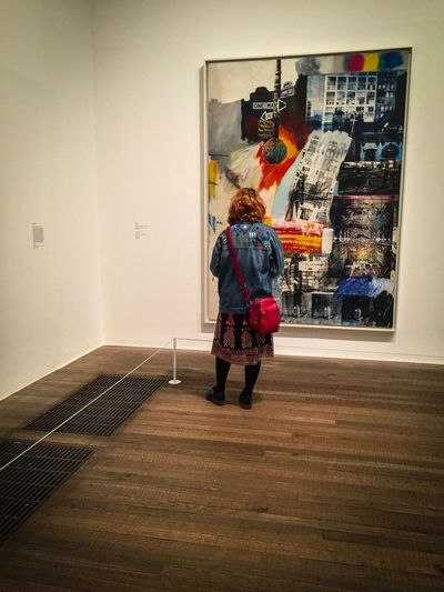 Real People Rear View Full Length Lifestyles Standing Leisure Activity One Person Indoors  Architecture Men Day Photography Indoor Interior Art Culture Rauschenberg Woman Painting Mixedmedia London London Lifestyle Londonlife Everyday TateModern