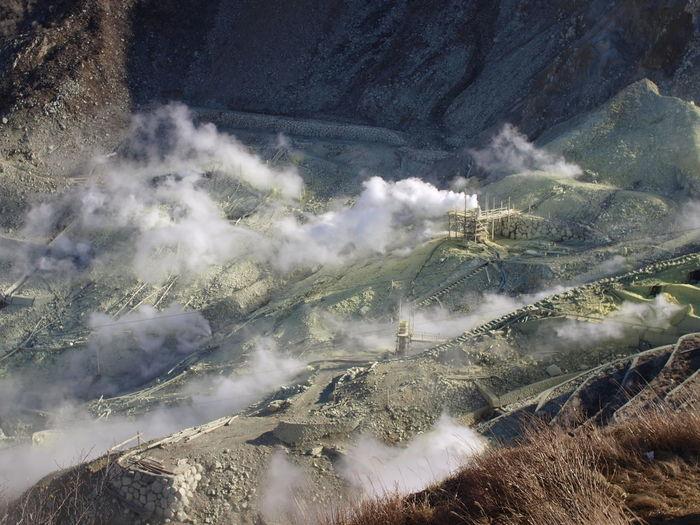 High angle view of sulphur mining