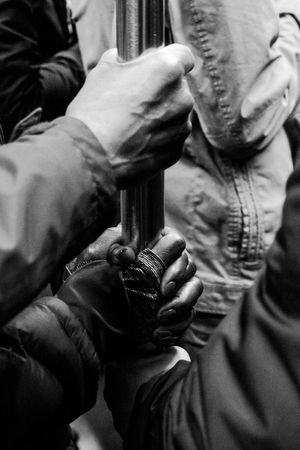 Subway Human Hand Men Midsection Togetherness Close-up