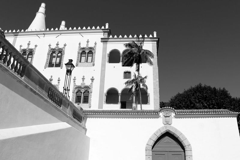 Palace Blackandwhite Historical Site Bnw Arquitecture Black And White Streetphotography Exterior View EyeEm Blackandwhite Photography Black&white EyeEm Best Shots EyeEmBestPics Light And Shadow Eye4photography  Sky And Clouds Palm Tree EyeEm Gallery Taking Photos Palacio Nacional De Sintra Sintra Portugal