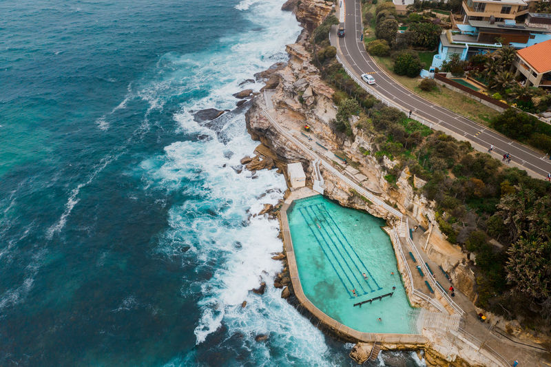 Water High Angle View Aerial View Sea Transportation Nature Architecture No People Day Built Structure Building Exterior Motion Mode Of Transportation Land Outdoors Beach Travel Destinations Travel Nautical Vessel Turquoise Colored Rock Pool Bronte Australia Outdoor Pool Drone