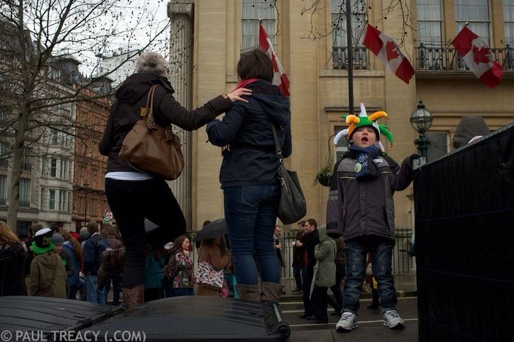 (C) Paul Treacy (.com) 2013. Vocal youngster during Saint Patrick's Day celebrations in Trafalgar Square, London. Street Photography London Saint Patrick's Day X100