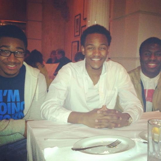 Me , jordan ,& george at bro birthday dinner .