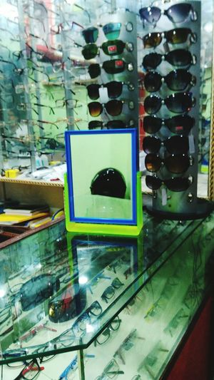 Helmet Reflecting On Mirror