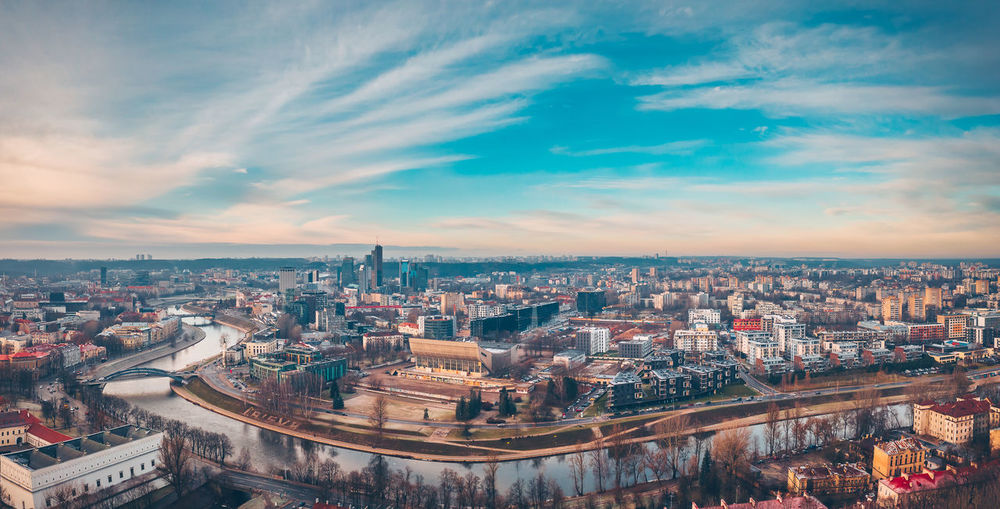 Vilnius panorama Capture Tomorrow Drone  Aerial View Aerial Mavic 2 Mavic 2 Pro Europe Lietuva Drone Panorama Building Exterior Architecture Built Structure City Cityscape Sky Cloud - Sky Building Nature High Angle View Residential District City Life Travel Destinations Outdoors Day Office Building Exterior Skyscraper Settlement