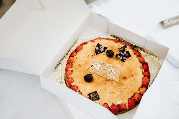 High angle view of cake in box on table