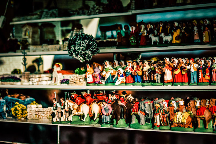 Figurines for sale in store