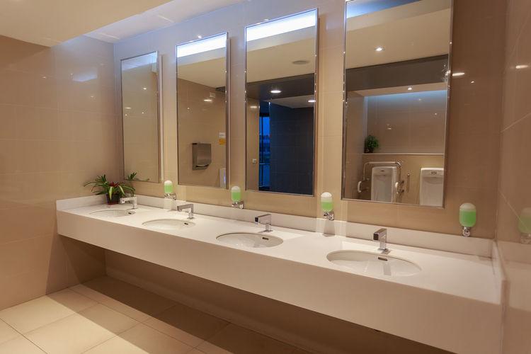 Interior of illuminated washroom