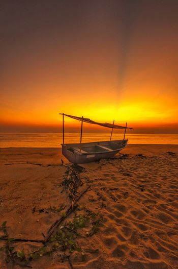 dawn of the day Sunrise Sandy Beach Dungun Terengganu Hawaii Bali Thailand Nature Photography Nature Red Burning Sky Orange Sky Fisherman Village South China Sea Ocean Water Nautical Vessel Sea Sunset Beach Wave Sand Silhouette Horizon Lifeguard  Fishing Boat Seascape Low Tide Tide