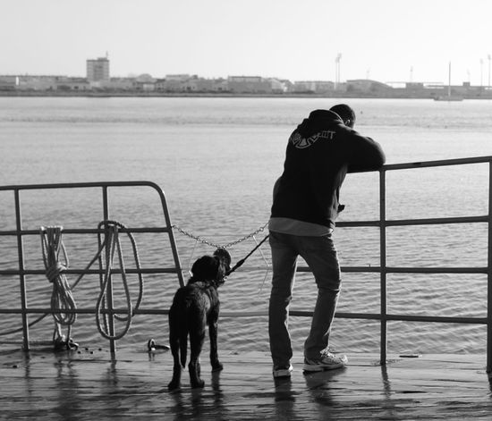 Guadiana boat Dog Pets Two People Water One Animal Domestic Animals Fishing Net Outdoors Animal Themes People Mammal Adult Nature Day Community Outreach First Eyeem Photo