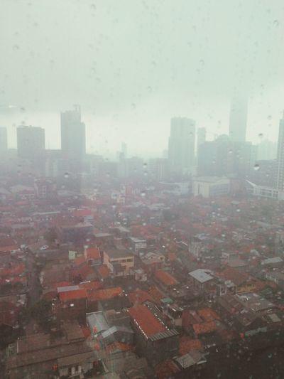 urban rain Rain Cityscape Skyscraper City Fog No People Architecture City Life Urban Skyline