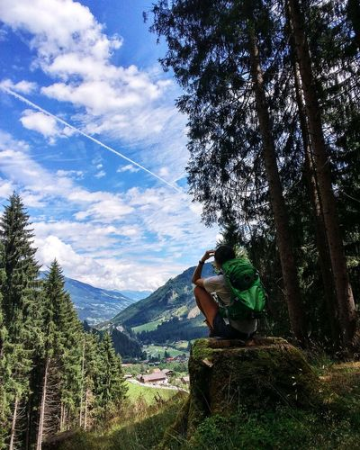 Tree Sky Nature Low Angle View Cloud - Sky Beauty In Nature Day Outdoors Vapor Trail Mountain People One Person Only Men Hiking Wanderlust Wanderer Wandering Tree Wald