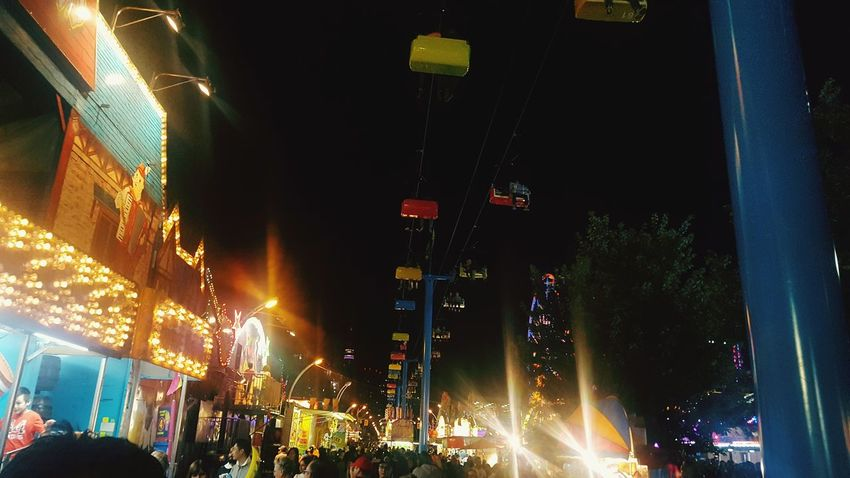 Midway at The Ex Night Illuminated Nightlife People Fun Thrill Rides Rides At Fair The 6ix Toronto The Ex Exhibition Summer Midway Food Chairlift