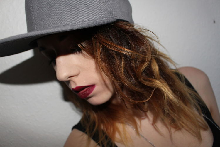 Close youre Eyes Hair Youngwildandfree Beautiful Woman Beauty Cap Close-up Closeyour4e Closeyoureyes Day Hairstyle Indoors  Lifestyles One Person People Real People Red Color Red Lips Secret Young Adult Young Woman Young Women