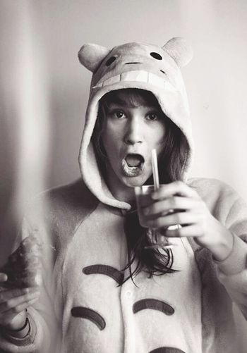 Enjoying Life Hello World Portrait Adorable B&w Photography Cheers Party Animal Totoro Onesie Love