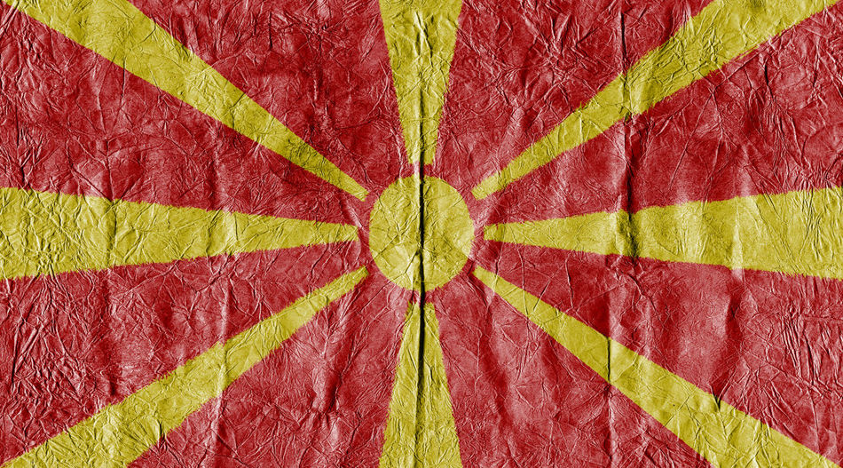 Macedonia flag on a paper in close-up Background Close-up Concept Country Flag Eu Europe Flag Freedom Growth Isolated Land Macedonia Macedonia Flag National Flag National Land Paper Pattern State Symbol Textured  Travel
