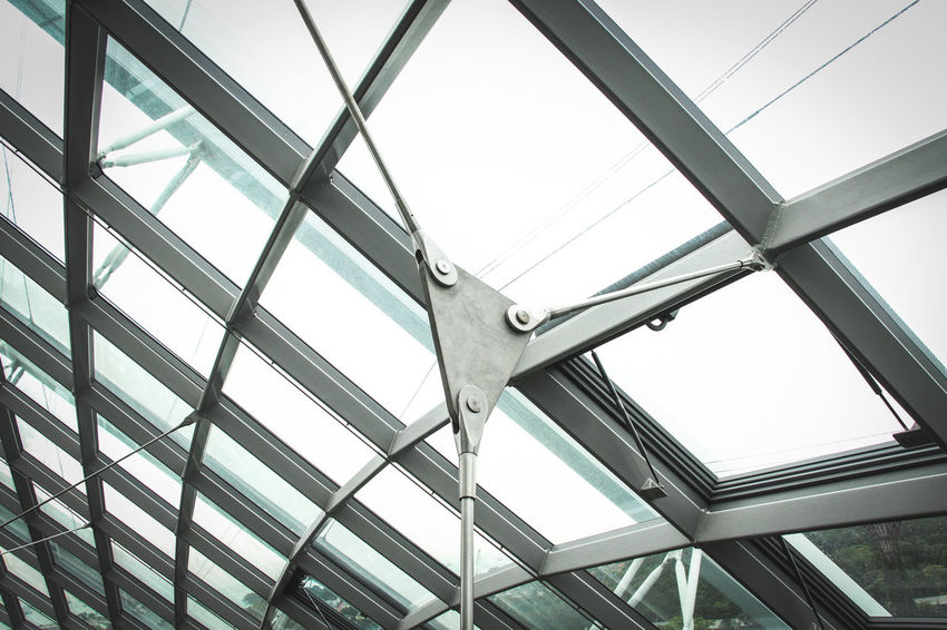 metal material Iron Objects Architecture Built Structure Ceiling Close-up Day Indoors  Insdustrial Light And Shadow Low Angle View Metal Metallic Modern No People Sky