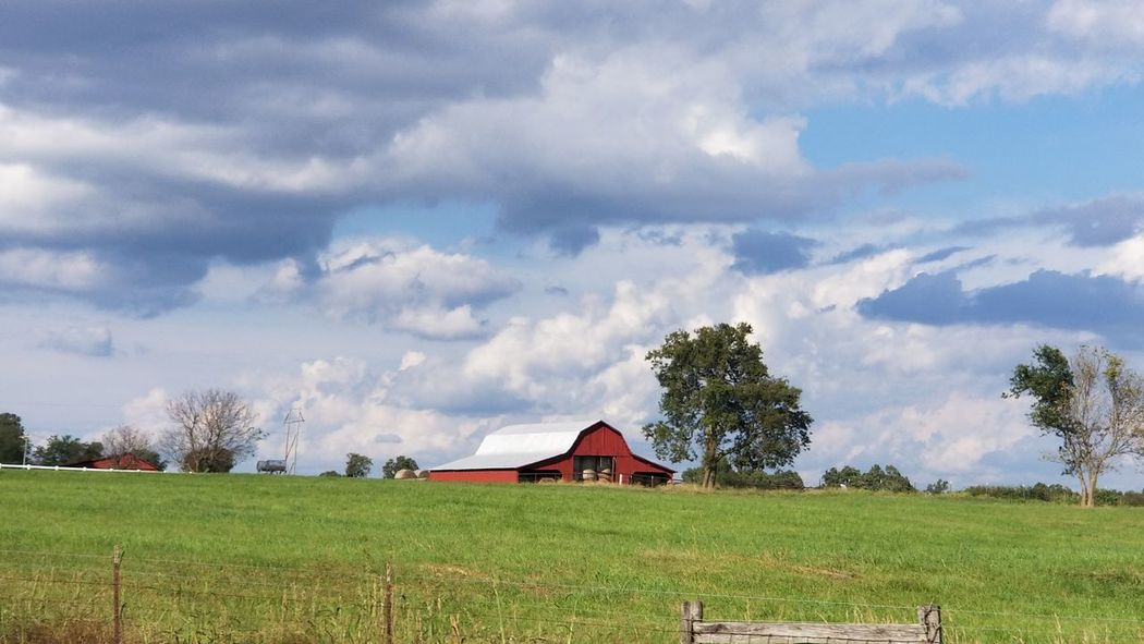 Barn Rural Scenes From Where I Stand Thru The Fence Country Life Beauty In Nature Tree Barn Rural Scene Agriculture Farmhouse Field Irrigation Equipment House Sky Architecture Farmland Farm