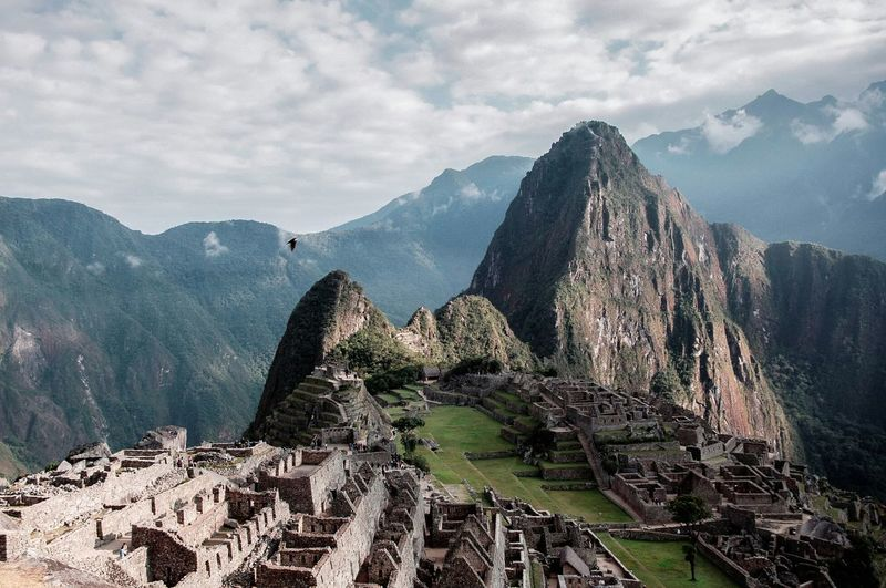 High angle view of machu picchu at peru