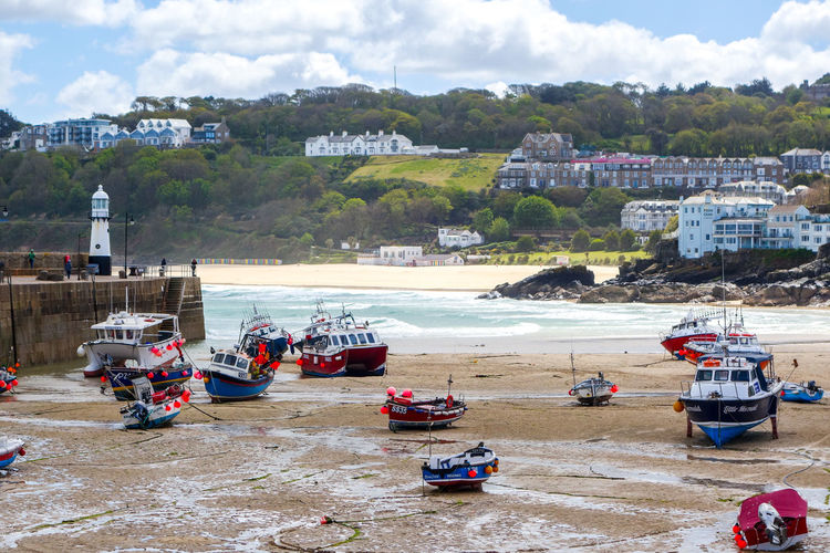 Coast Path Cornwall Uk Transportation Mode Of Transportation Architecture Water Building Exterior Day Built Structure Land Cloud - Sky Nautical Vessel Sky Nature Sea Beach City No People Outdoors Building Residential District St. Ives Cornwall Low Tide