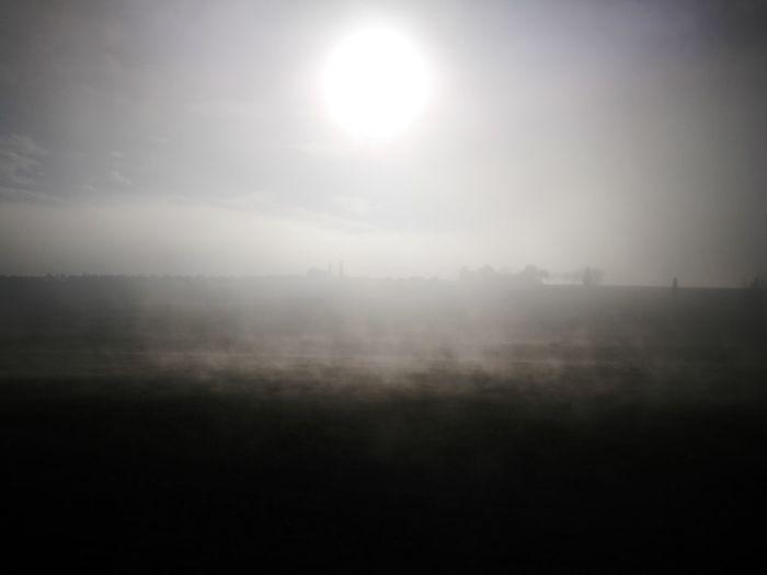 Fog Sun Landscape Outdoors No People Rural Scene Day Sky Nature Grass