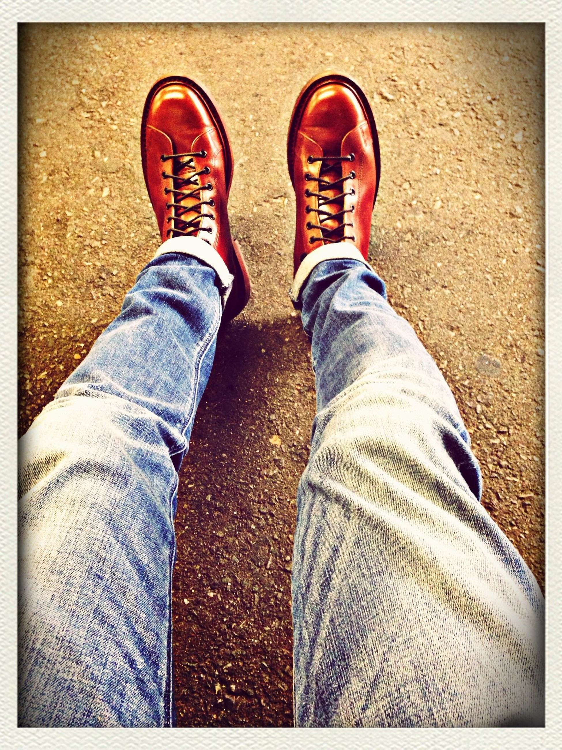 low section, person, shoe, personal perspective, jeans, footwear, human foot, transfer print, canvas shoe, standing, auto post production filter, high angle view, lifestyles, pair, denim, indoors, men