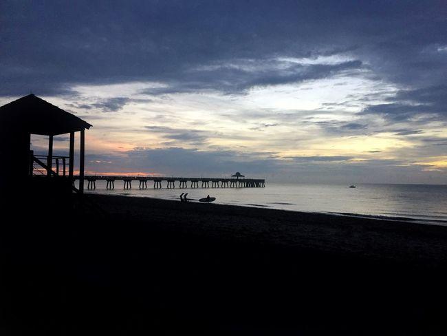 Approaching sunrise. Lifeguard Station Silhouettes Deerfield Beach Pier Beach Sunrise Showcase June Fine Art Photography