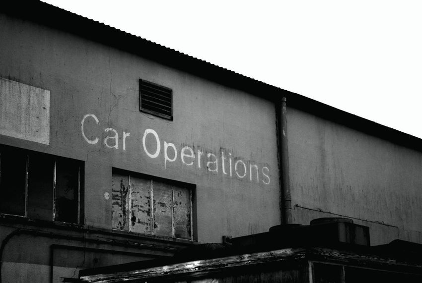 Car Operations Vehicle Maintenance Black And White Building Exterior Car Shop Closed For Business Derelict Building Deserted Building Garage Run Down