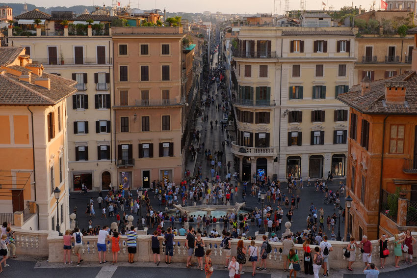 Piazza di Spagna, Rome, Italy. Old Town Rome World Heritage Architecture Building Exterior Built Structure City Day Fujifilm Fujifilm_xseries Italy Large Group Of People Men Old Buildings Outdoors People Piazza Di Spagna Real People Sky Sunset