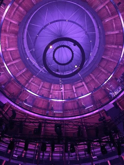 London Architecture Camden Camden Roundhouse Chalk Farm Illuminated Indoors  Low Angle View Purple Light Railway Shed Roof Timbers Roundhouse