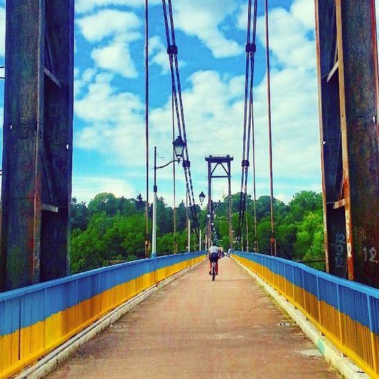 The bridge over the Teteriv River, Zhytomyr, Ukraine. Teteriv Zhytomyr Ukraine Blueandyellow