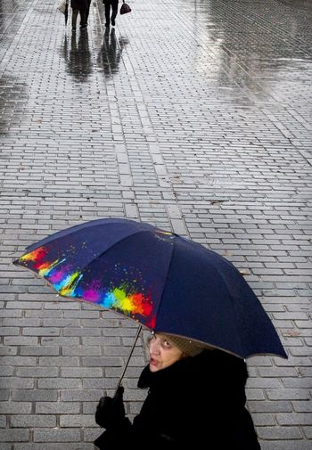rainy istanbul Istanbul Istanbul Turkey Rainy Rainy Day Umbrella Streetphotography Sokakfotografciligi Humaningeometry The Art Of Street Photography Water Under Multi Colored Women RainDrop Below Wet Holding Protection Weather