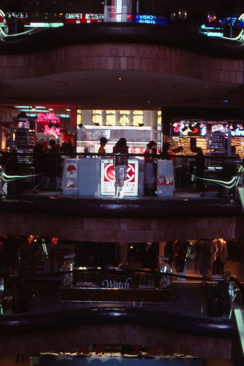 Business City Life Department Store Hong Kong 1986 Illuminated Indoors  Peple Retail  Stages