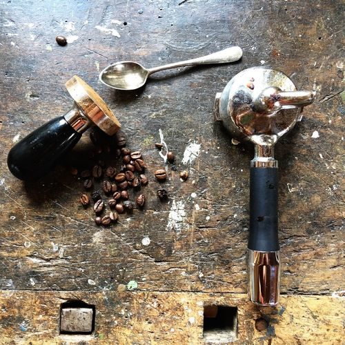 Coffeemachine Coffeebean Espresso Making Coffee Coffee Utensils No People High Angle View Table Still Life Close-up Coffee Kitchen Utensil