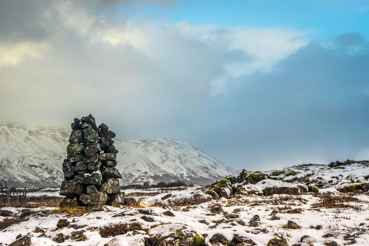 A cairn on the mountain tops above the icelandic national park thingvellir