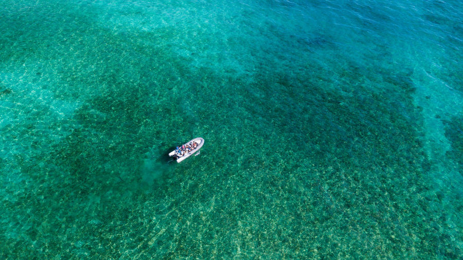 Water Sea High Angle View Nature Day Scenics - Nature Nautical Vessel Outdoors Waterfront Beauty In Nature Turquoise Colored Transportation Vacations Tranquility Trip Sport Rippled No People Holiday