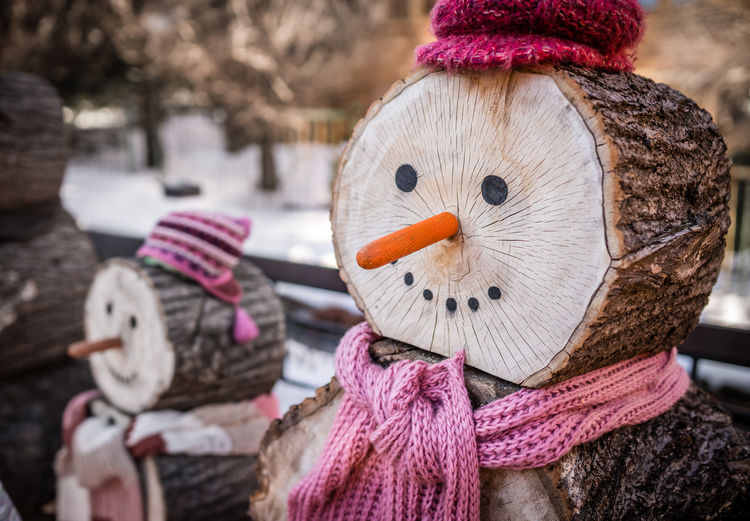 Close-up of wooden snow man