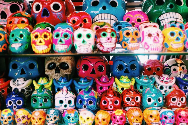 Close-Up Of Colorful Skulls For Sale