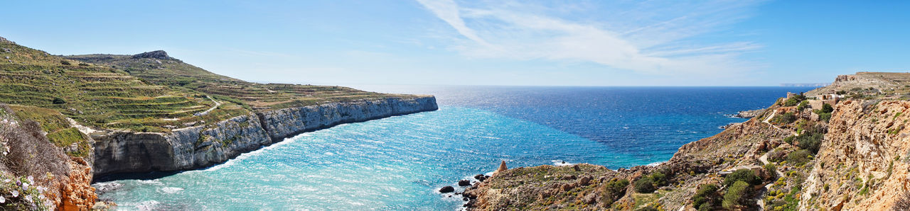 Summer Water Sea Scenics - Nature Beauty In Nature Sky Nature Land Tranquil Scene Tranquility Panoramic Horizon No People Horizon Over Water Blue Rock Rock - Object Day Beach Solid Outdoors Bay Turquoise Colored Field Seascape Sea And Sky