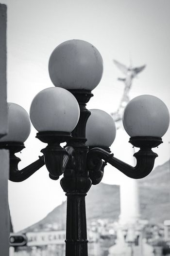 Close-up of street light against clear sky