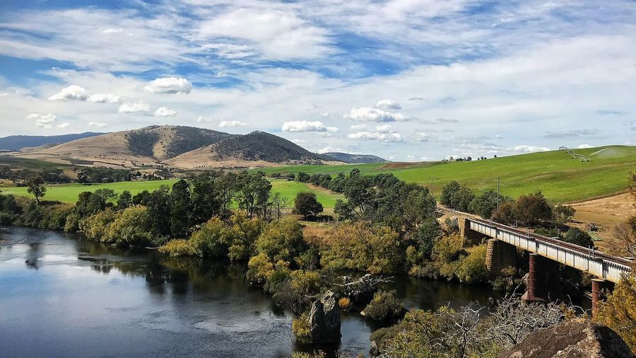 Macquarie Plains, just a spectacular view back into the Derwent Valley Tasmania Australia Bridge Train Tasmania Cloud - Sky Sky Day Water Nature Outdoors Beauty In Nature