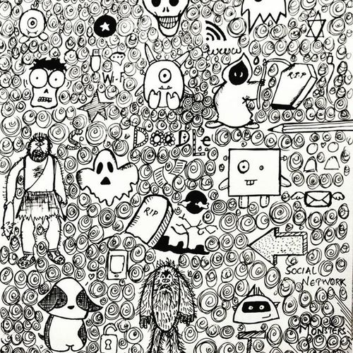 Doodle Doodles Doodleart Doodling Doodlesofinstagram Doodlesofinsta Instapic Instagood Instaupload Firsttry OfficeBoredom Paper Pen Black White Original Likeforlike 3hours Monsters Art Creative Moredoodlesonway Life